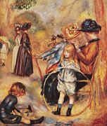 Black Kid Playing Paintings - In the Luxembourg Gardens by Pierre Auguste Renoir