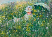 Monet Lady Posters - In the Meadow Poster by Claude Monet