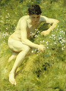Nudes Framed Prints - In the Meadow Framed Print by Henry Scott Tuke