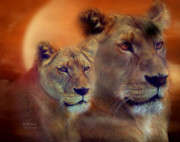 Lioness Mixed Media Posters - In The Moment Poster by Carol Cavalaris