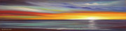 Sunset Pieces Posters - In the Moment Panoramic Sunset Poster by Gina De Gorna