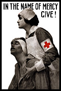 Vintage Care Framed Prints - In The Name Of Mercy Give Framed Print by War Is Hell Store