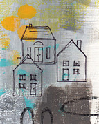 Gray Abstract Prints - In The Neighborhood Print by Linda Woods