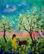 Goat Painting Originals - In the orchard by Pol Ledent