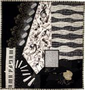 Quilt Collage Tapestries - Textiles Prints - In the Pits Print by Loretta Alvarado