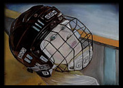 Hockey Player Paintings - In the Players Bench by Beth Campbell