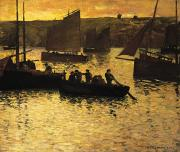 Evening Scenes Painting Posters - In The Port Poster by Charles Cottet