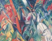 Modern Dog Art Paintings - In the Rain by Franz Marc
