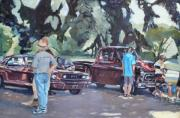 Old Cars Paintings - In the Red by Deb Putnam