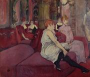 Bohemian Framed Prints - In the Salon at the Rue des Moulins Framed Print by Henri de Toulouse-Lautrec