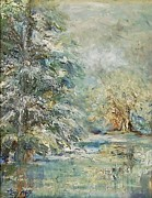 Snowy Trees Paintings - In the Snowy Silence by Mary Wolf