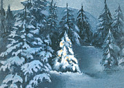 Snow Scene Digital Art Posters - In The Spotlight Poster by Arline Wagner