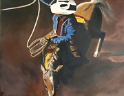 Roping Horse Paintings - In the Spotlight by Diana Prickett