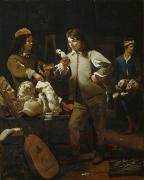 Sculptures Posters - In the Studio Poster by Michael Sweerts