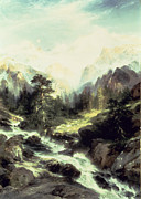 Waterfalls Painting Framed Prints - In the Teton Range Framed Print by Thomas Moran