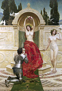 Kneeling Prints - In the Venusburg Print by John Collier