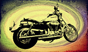 Yellow Bike Framed Prints - In the Vortex - Harley Davidson Framed Print by Bill Cannon