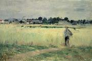 Country Houses Framed Prints - In the Wheatfield at Gennevilliers Framed Print by Berthe Morisot