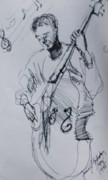 Bass Drawings Prints - In the Zone Bass Player Print by Jamey Balester