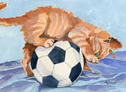 Soccer Painting Framed Prints - In Training Framed Print by Marsha Elliott