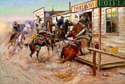 Rodeo Art Painting Posters - In Without Knocking by Charles M. Russell Poster by Pg Reproductions