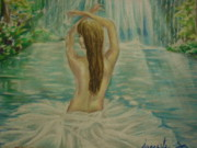Waterfall Pastels Originals - In wonderland by Agnes Varnagy
