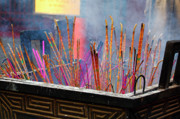 Buddhism Acrylic Prints - Incense Sticks Burning Acrylic Print by George Oze