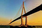 South Korea Framed Prints - Incheon Bridge With First 2012 Sunset. Framed Print by Tokism