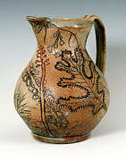 Pitcher Ceramics - Incised Pitcher with Pokeberries and Oak Leaf by Patty Sheppard