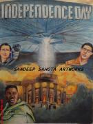 Blockbuster Art - Independence Day by Sandeep Kumar Sahota