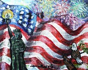 American Eagle Paintings - Independence Day by Shana Rowe