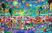 Fireworks Paintings - Independence Day Venice Style by Frank Strasser