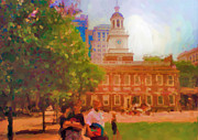 Hall Digital Art Originals - Independence Hall in Philadelphia by Ozborne-Whilliamsson