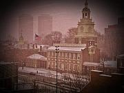 Independence Hall Digital Art Metal Prints - Independence Hall in the Snow Metal Print by Bill Cannon