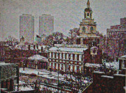 Independence Hall Digital Art Metal Prints - Independence Hall in the Winter Metal Print by Bill Cannon
