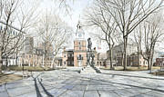 Images Paintings - Independence Hall by Keith Mountford