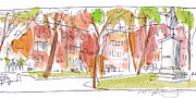 Park Scene Drawings Prints - Independence Park Philadelphia Print by Marilyn MacGregor