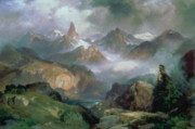 Wyoming Painting Posters - Index Peak Poster by Thomas Moran