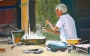 Side Pastels Prints - India - Street side cooking Print by Leonor Thornton