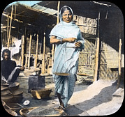 Slide Prints - India, A Young Woman Street Vendor Print by Everett
