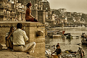 Ganga Photos - India  Along the river ghats Varanasi by Neville Bulsara