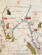 Antique Map Drawings - India and Malaysia by Battista Agnese