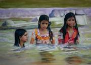 India Pastels Metal Prints - India girls in a river Metal Print by Leonor Thornton
