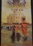 Lady In Red Drawings - India Kingdom Of The Tiger by Sandeep Kumar Sahota