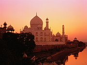 Yamuna River Posters - India,agra,taj Mahal And River Yamuna,sunset Poster by David Sutherland
