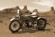 Sepia Digital Art Prints - Indian 4 Sidecar Print by Mike McGlothlen