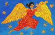 Sue Burgess Paintings - Indian angel messenger by Sushila Burgess
