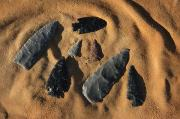 Bows Photos - Indian Arrowheads In The Sand by Ira Block