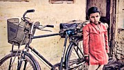 With Pyrography Prints - Indian Boy With Cycle Print by Parikshat sharma