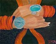 Watercolor Pastels Originals - Indian Bracelets by Ione Citrin